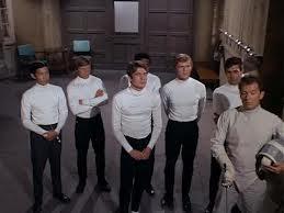 "Christopher Jones, center, one of Thrush's ""test tube"" killers in a fourth-season Man From U.N.C.L.E. episode"