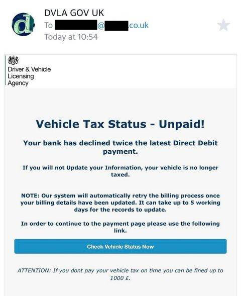 Example of scam email claiming to be from the DVLA regarding unpaid vehicle tax