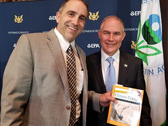 "Blogger Marc Morano presents his book, ""The Politically Incorrect Guide to Climate Change,"" to EPA Administrator Scott Pruitt yesterday. Photo credit: Marc Morano/Twitter"