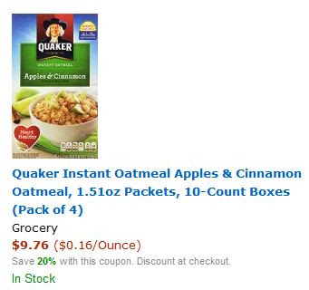 20% off Quaker Oatmeal (as low...