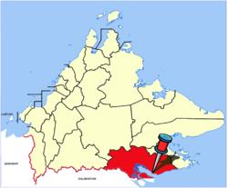 Location of Tawau in Sabah