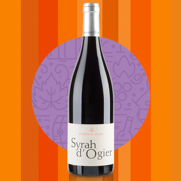 Bottle of Syrah d'Ogier against a stylized background.