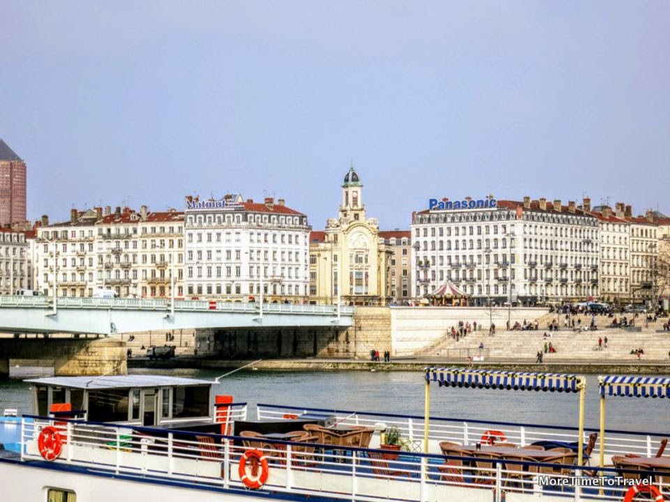 View of Lyon, France from the Rhone River (Credit: MoreTimeToTravel.com)
