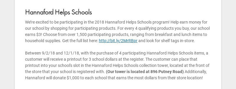 Hannaford Helps Schools We're excited to be participating in the 2018 Hannaford Helps Schools...