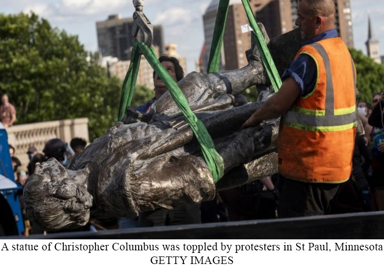 A statue of Christopher Columbus was toppled by protesters in StPaul, Minnesota | GETTY IMAGES