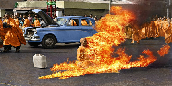 On June 11, 1963, a Vietnamese Mahayana Buddhist monk burned himself to death at a busy Saigon intersection