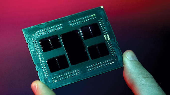 The Epyc 2nd generation chip, manufactured by Advanced Micro Devices Inc. (AMD) is arranged for a photograph during a launch event in San Francisco, California, U.S., on Wednesday, Aug. 7, 2019.