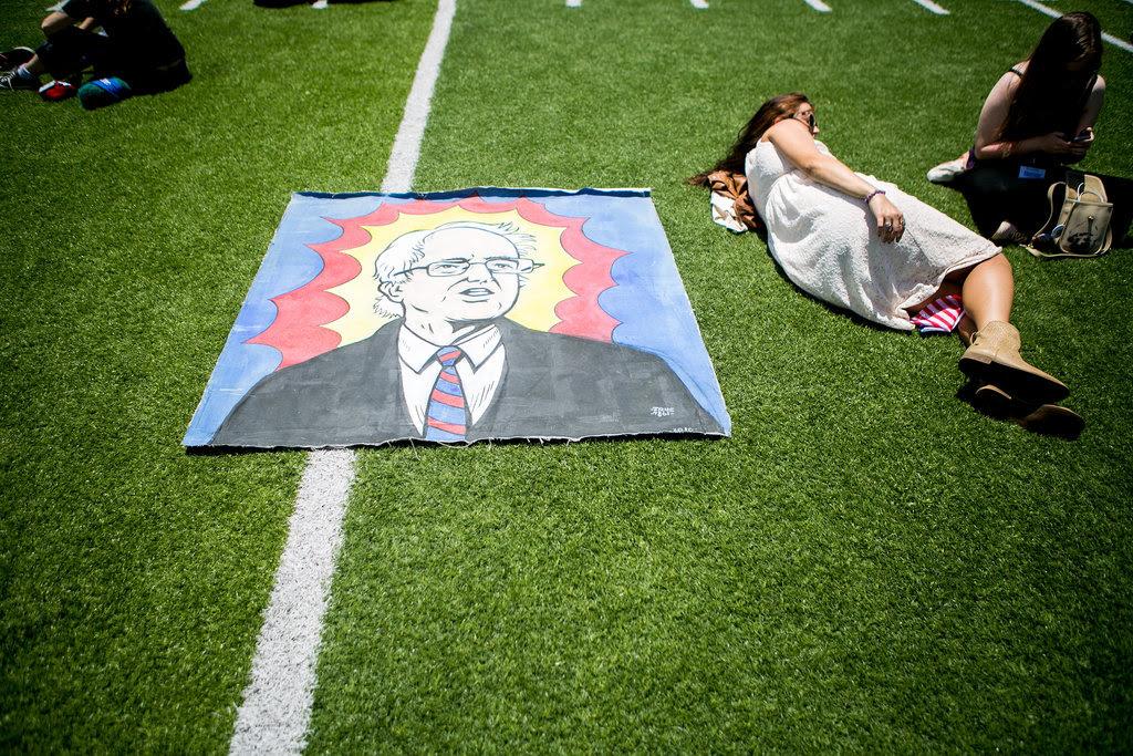 A crowd waiting for Senator Bernie Sanders of Vermont to speak at Rancho Buena Vista High School in Vista, Calif., on Saturday.