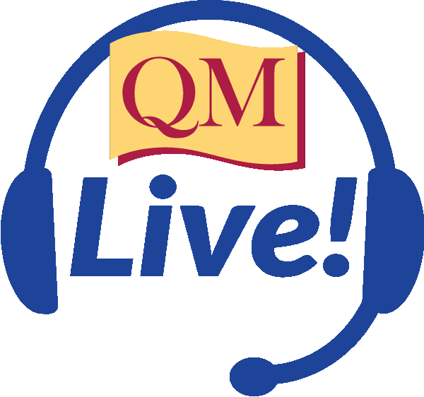 illustration of headset with the words QM Live inside the set