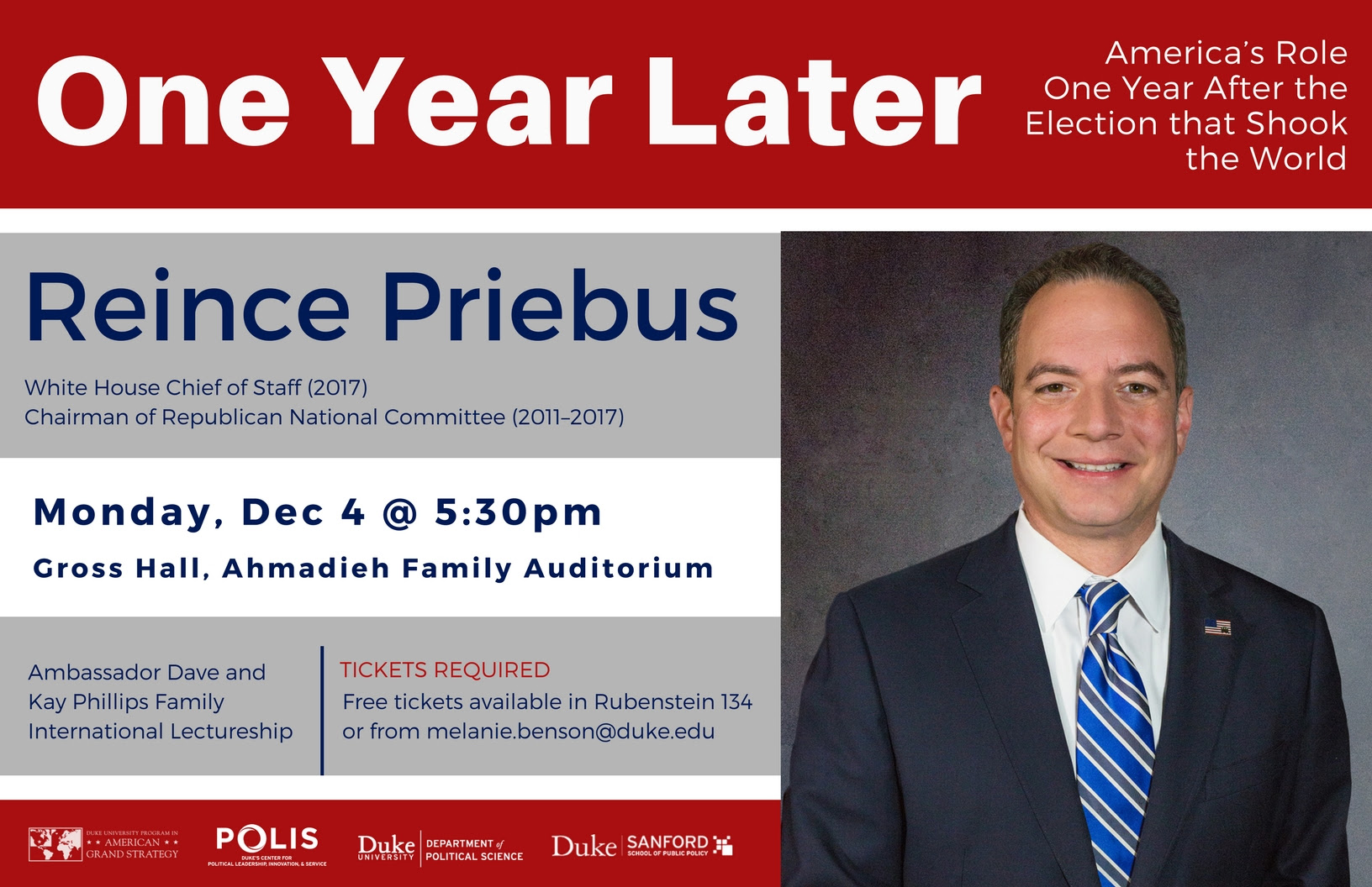 One Year Later: America's Role One Year After the Election that Shook the World @ Gross Hall, Ahmadieh Family Auditorium   Durham   North Carolina   United States