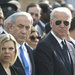 Former Prime Minister Tony Blair of Britain, left, Prime Minister Benjamin Netanyahu of Israel, center, with his wife, Sara, and Vice-President Joseph R. Biden Jr., at a memorial service for Ariel Sharon at the Israeli Parliament in Jerusalem on Monday.