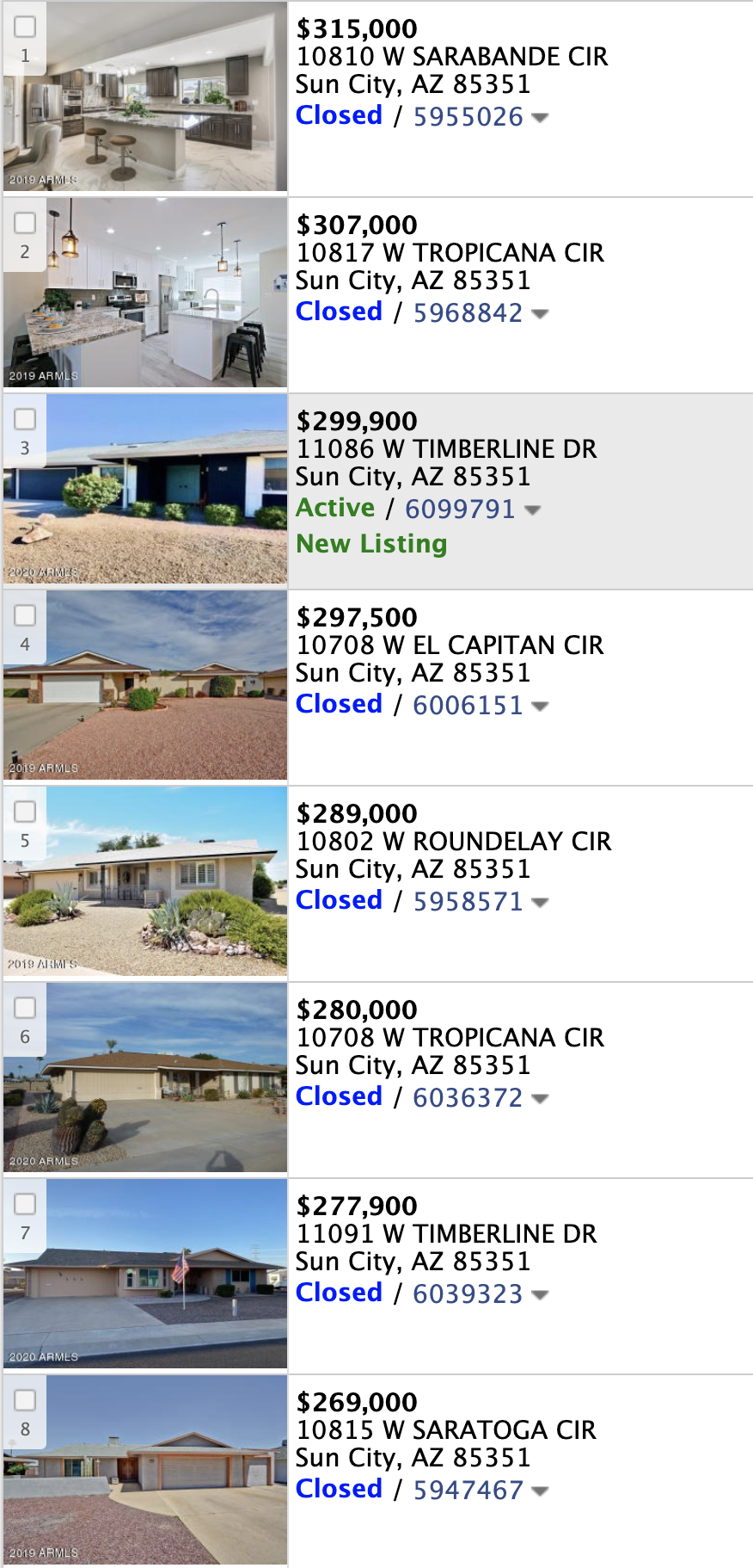 10805 W Saratoga Cir, Sun City AZ 85351 comps list