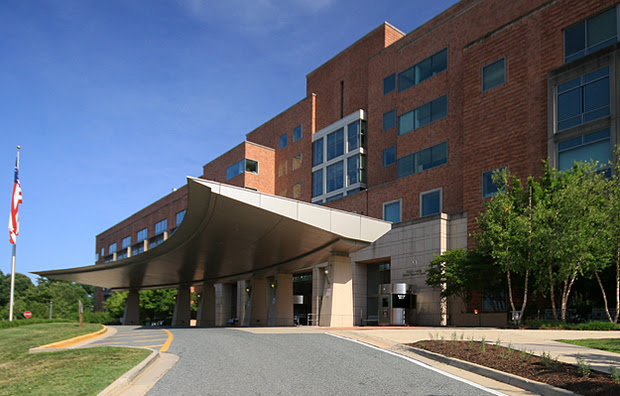 An image of the Mark O. Hatfield Clinical Research Center (Building 10) North entrance in Bethesda, MD