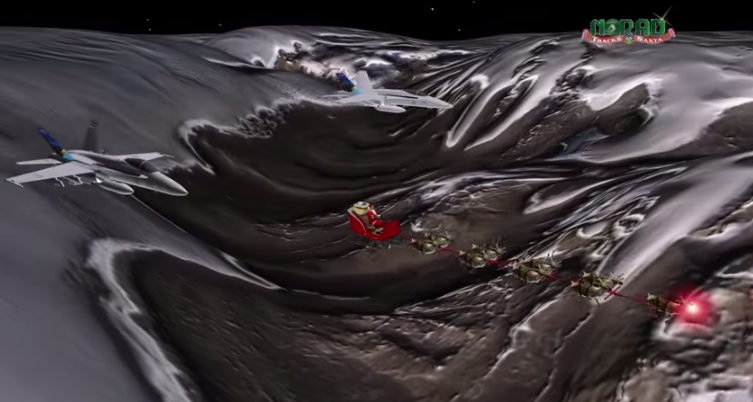 Santa flys through the night sky on his magical Christmas Eve journey.