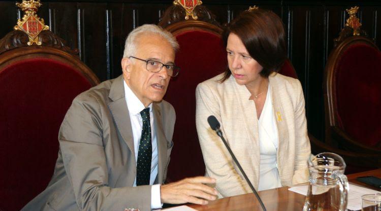 L'alcaldessa de Girona, Marta Madrenas, i el tinent d'alcalde Eduard Berloso, aquest matí. ACN