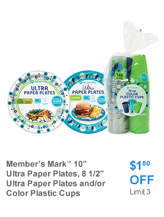 Member's Mark Plates/Cups