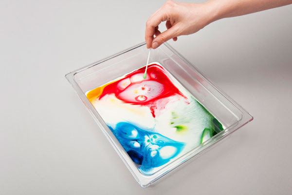 Person adding drops of food colouring into a tray of milk