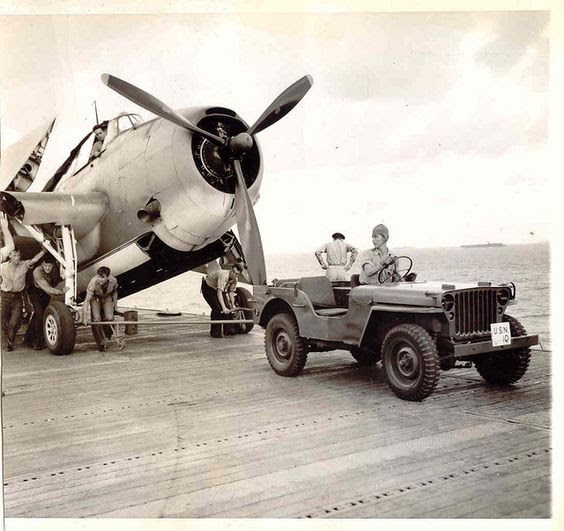 Jeep Towing on an aircraft carrier - WWII