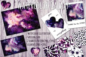 Watercolor Galaxy Set