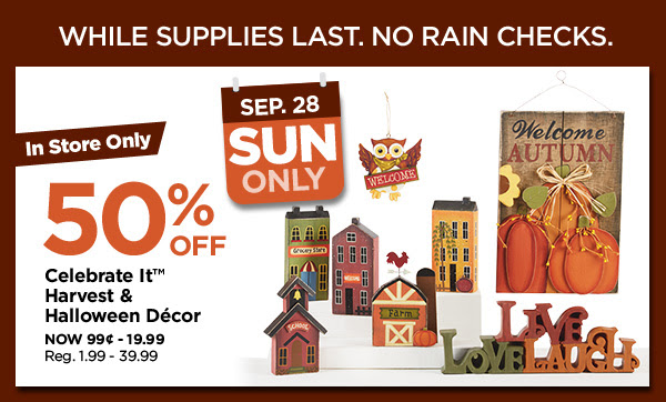 50% off Celebrate it™ Harvest & Halloween Décor