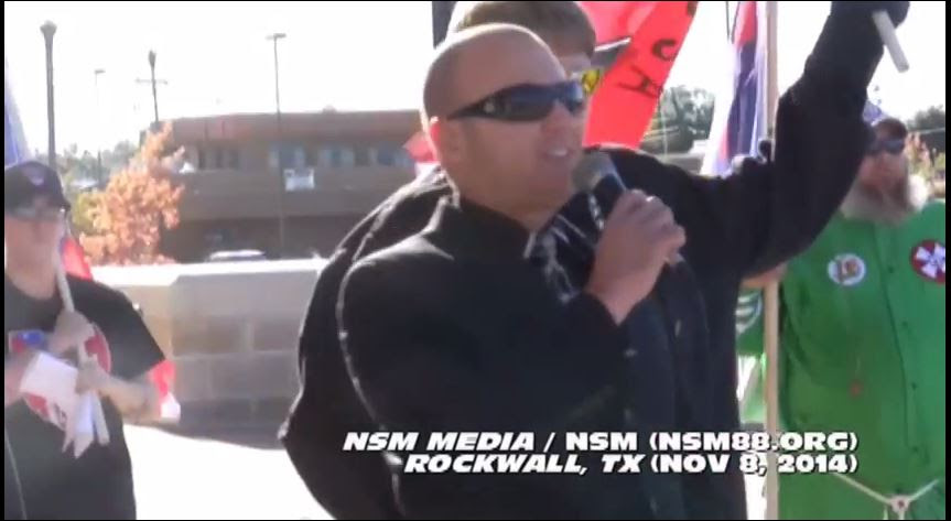 NSM leader Jeff Schoep in Texas last year with Ku Klux Klan memeber