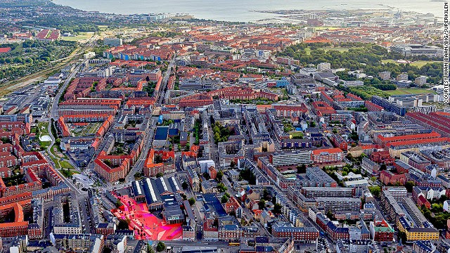Copenhagen's Superkilen Park is a half-mile-long urban space near the city's bohemian Norrebro neighborhood.