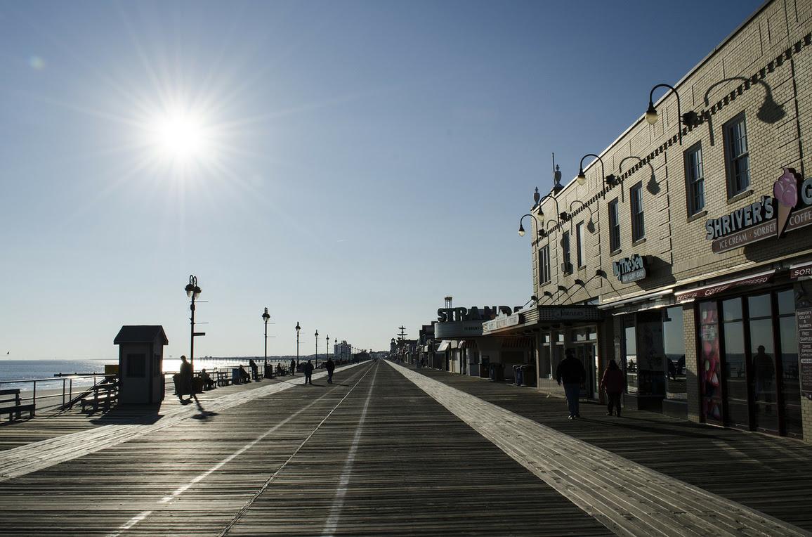 A veiw of the boardwalk in Ocean City, New Jersey