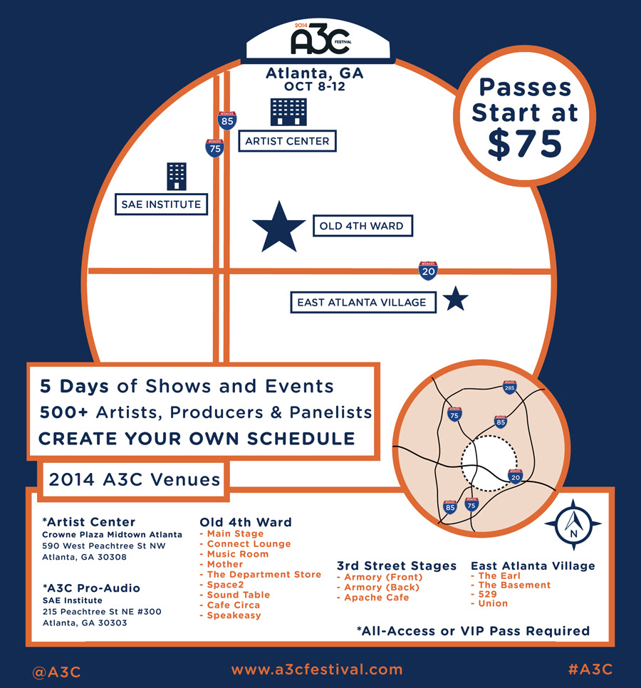 2014-A3C-Venues 2014 A3C Festival Full Line-Up Unveiled