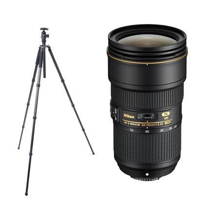 AF-S NIKKOR 24-70mm f/2.8E ED VR Lens - U.S.A. Warranty - With FotoPro X-Go Max Carbon Fib