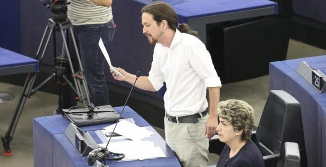 Pablo Iglesias, hasta hoy eurodiputado, en una de sus intervenciones en una sesión plenaria del Parlamento Europeo. EFE