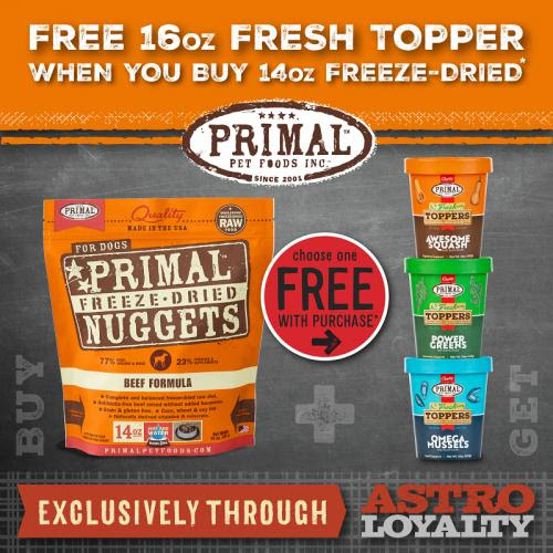 Primal Raw Food is offering a FREE 16z Elixir with the purchase of any Freeze dried 14oz bag of food.