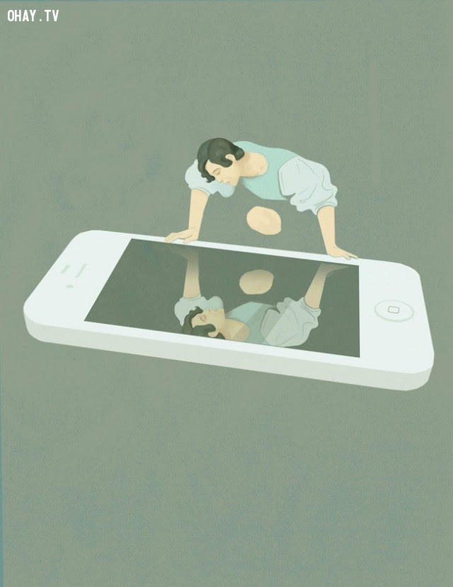 Con người chỉ chăm chút bản thân của mình trên mạng xã hội mà thôi.,xã hội hiện đại,tranh biếm họa