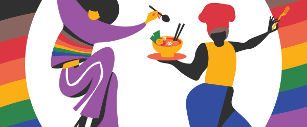 Illustration depicting two people celebrating Pride                                                           month with                                                           food