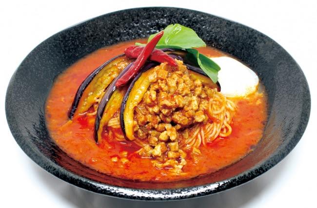 茄子と挽肉のアラビアータ冷麺