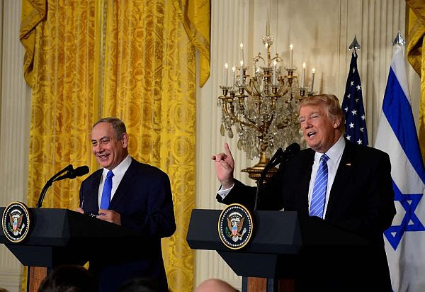 Israeli PM Benjamin Netanyahu, US President Donald Trump at White House joint briefing on Feb. 15 2017