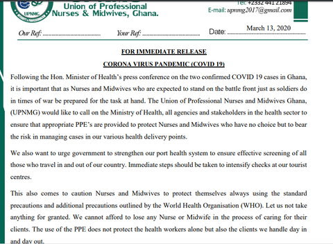 Statement from Union of Professional Nurses and Midwives, Ghana (UPNMG)