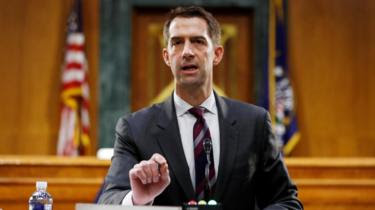 U.S. Sen. Tom Cotton (R-AR) speaks during a Senate Intelligence Committee nomination