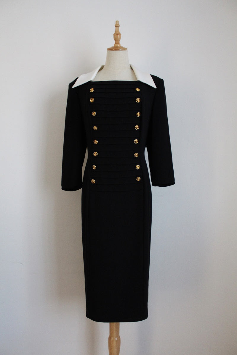 FRANK USHER DESIGNER VINTAGE BLACK DRESS - SIZE 14