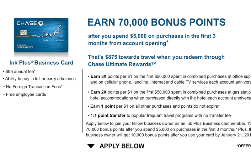 70K Ink Plus Refer a Friend Offer - Earn Up to 50K Bonus Points