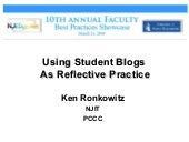 Using Student Blogs As Reflective Practice