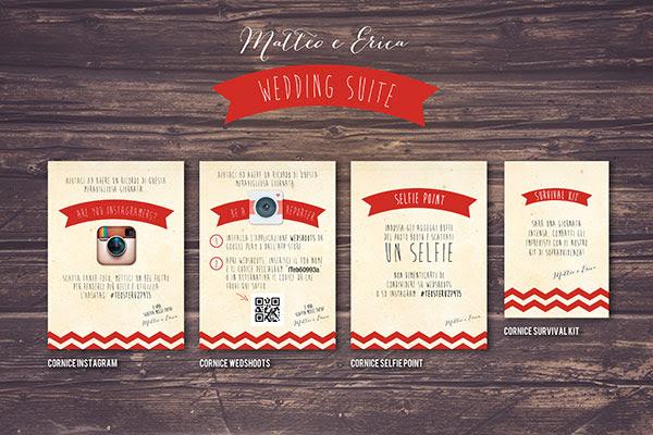 grafica per cornici instagram, wedshoots, selfiepoint, survival kit | Wedding suite matrimonio anni 50