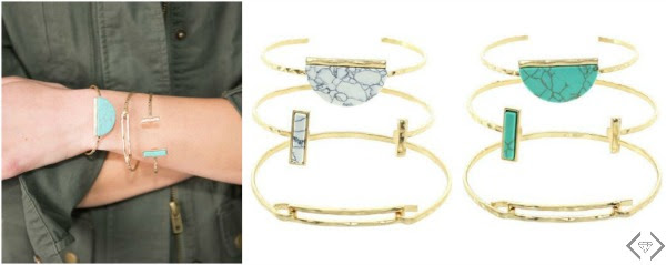 Stone & Hammered Bangles set for $7.48
