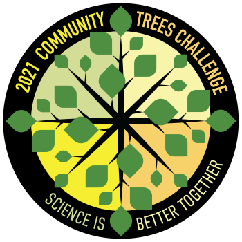 """2021 community trees challenge logo with green leaves and """"science is better together"""" statement"""