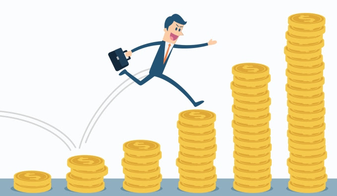 Businessman run and jump on money stairs