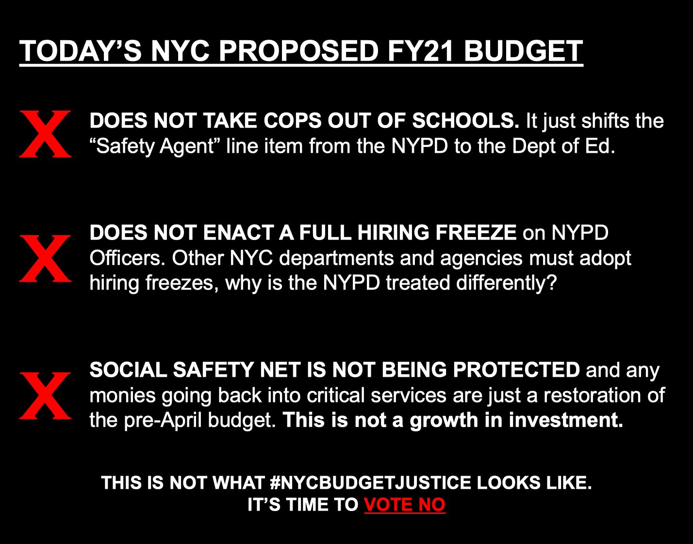 List of ways NYC Budget does NOT Defund NYPD by $1B