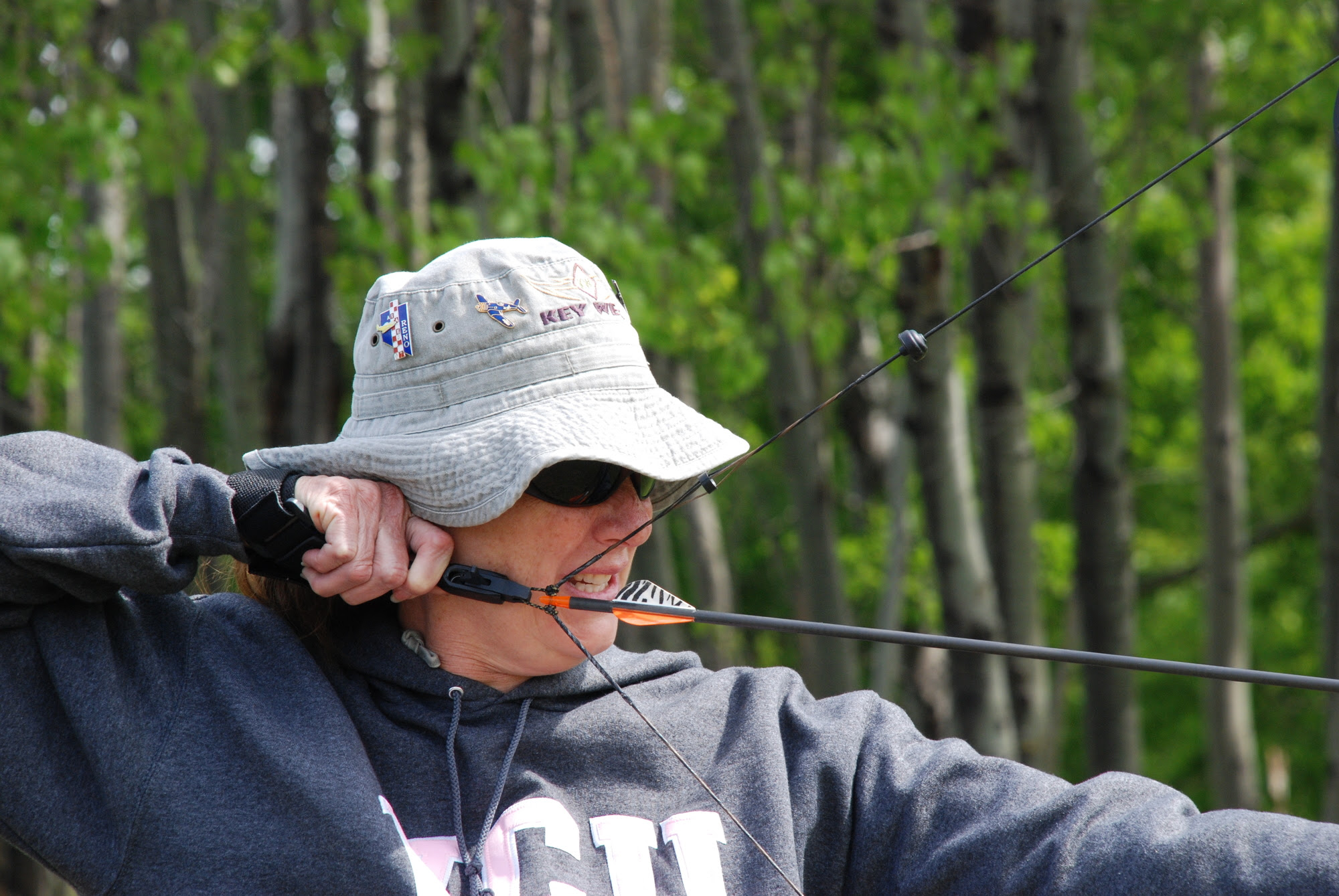 An archer at the Becoming an Outdoors-Woman course in Big Bay, Michigan.