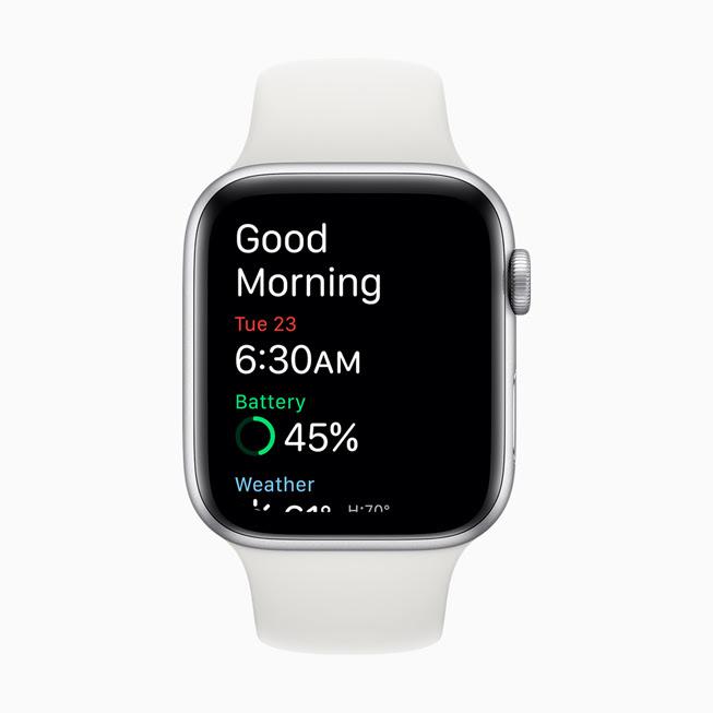Apple Watch Series 5 螢幕中顯⽰的喚醒畫面。