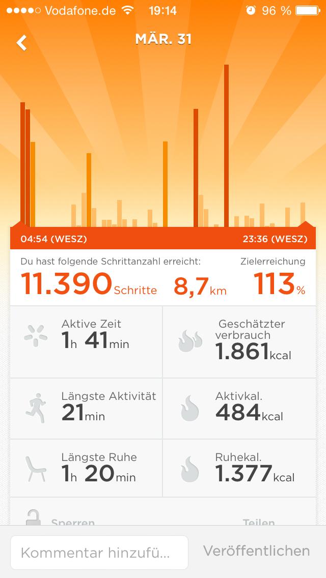 Scheinwerfer-Aktivität-Schritte-pro-Tag
