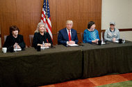 From left, Kathleen Willey, Juanita Broaddrick, Donald J. Trump, Kathy Shelton and Paula Jones at a news conference in St. Louis on Sunday.