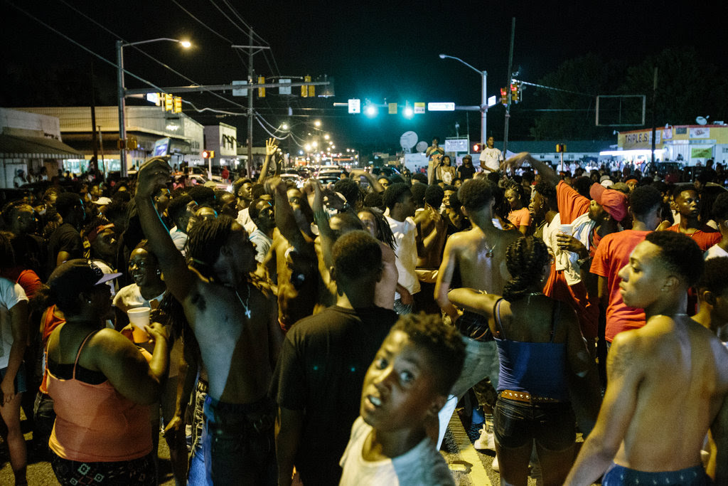Protesters in Baton Rouge, La., on Wednesday night to protest the killing of Alton B. Sterling by the police.